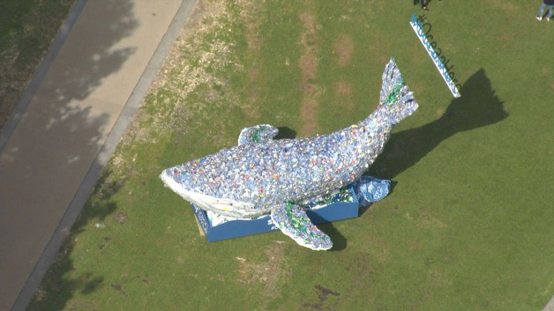 The 10-metre plastic whale is going on tour of the UK as part of Sky's Ocean Rescue campaign