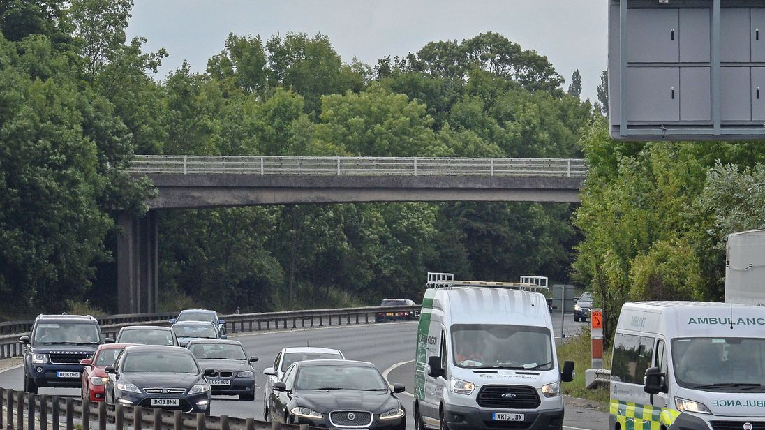 Goose Lane bridge over the M11 near Birchanger, from where the lump of concrete may have been thrown