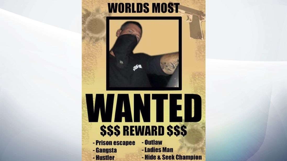 Davidson describes himself as a 'hide and seek champion' in this mocked up wanted poster