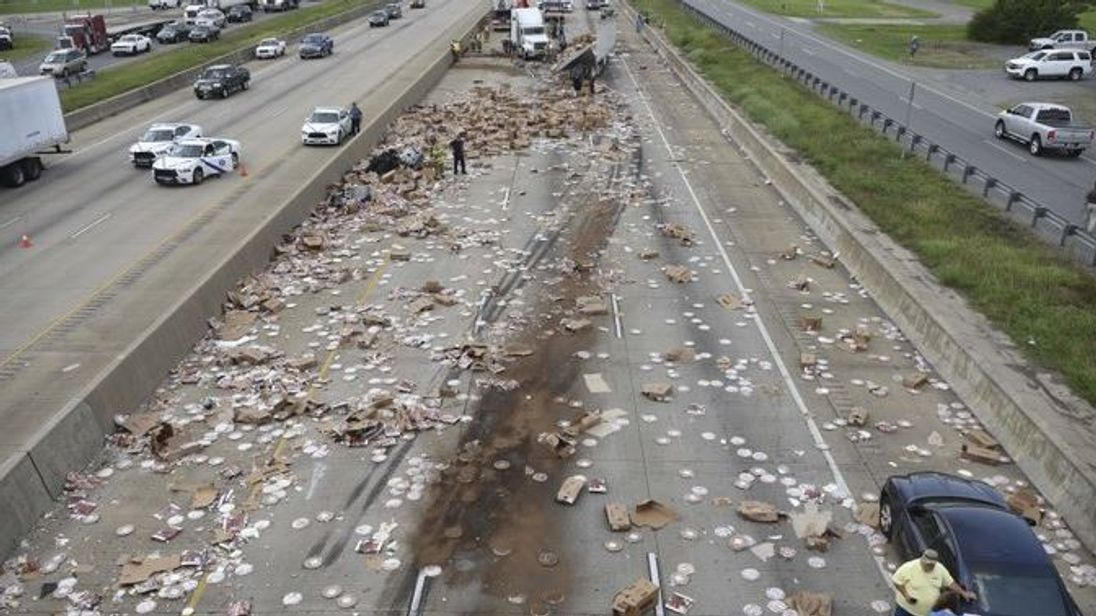 The highway were closed for four hours. Pic: Arkansas Department of Transportation/AP