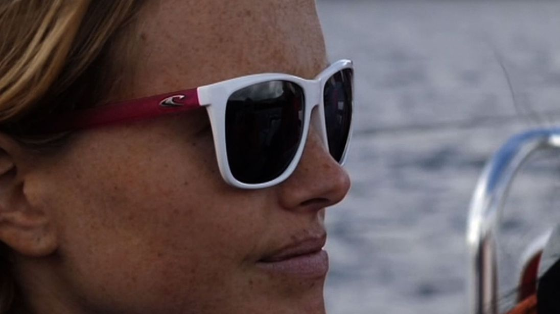 Sea Dragon crew member and marine scientist Bryony Meakins looks across a sea blighted by plastic