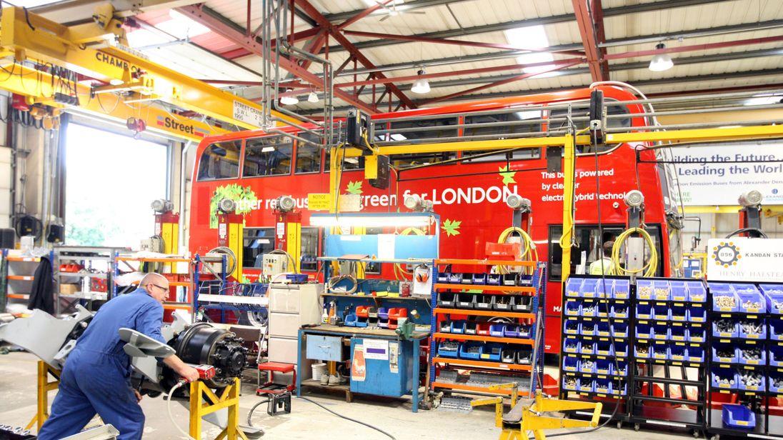 The Alexander Dennis factory in Guildford, Surrey