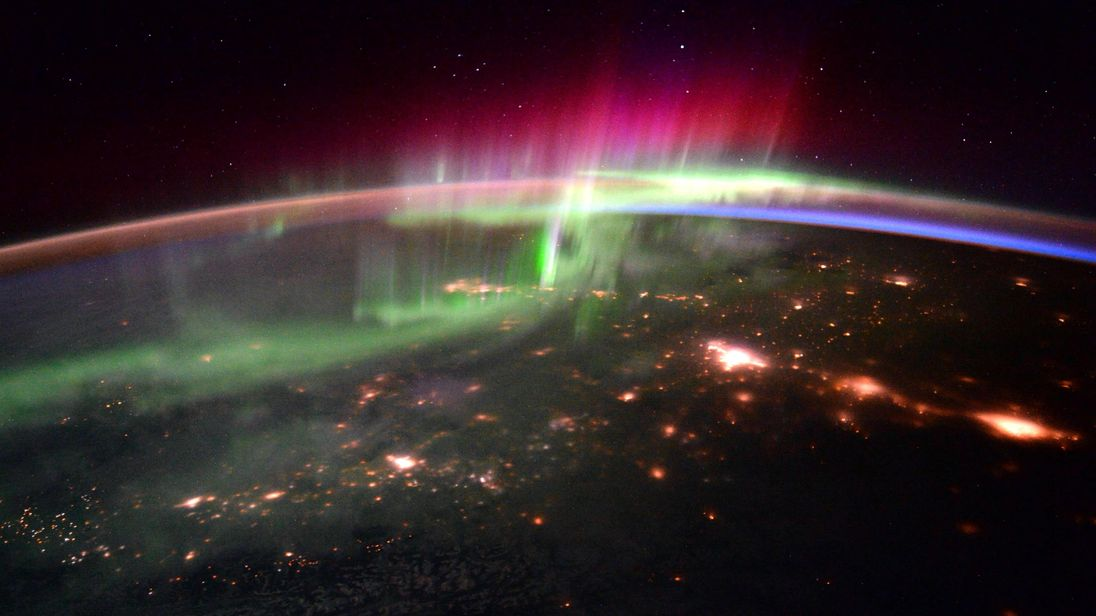 In this photo taken by British astronaut Tim Peake, an Aurora is seen over northern Canada