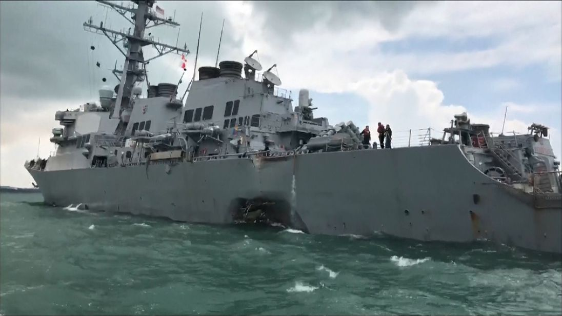 Ten sailors are missing after the USS John S McCain was hit by a tanker