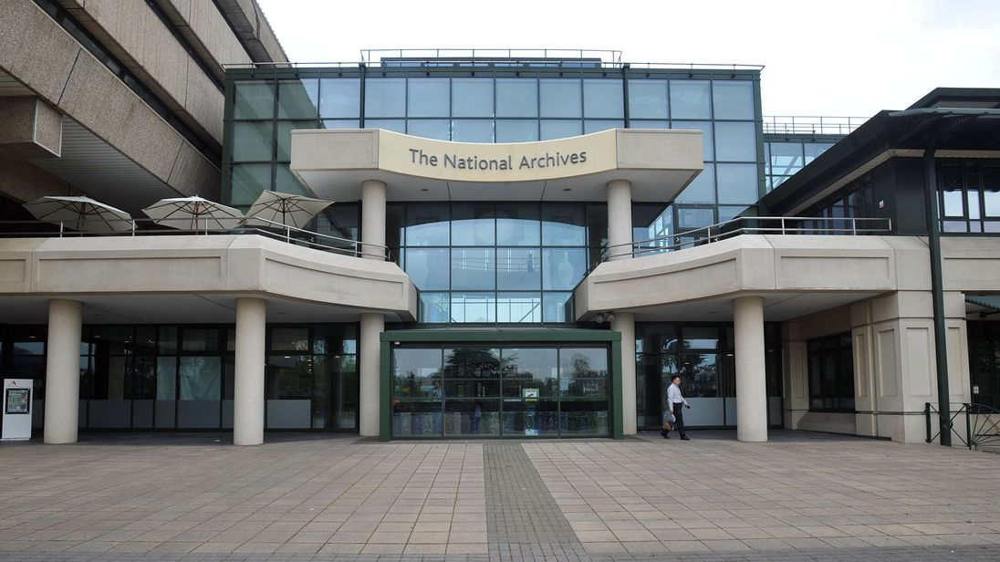 A general view of the main entrance of the National Archives in Kew, London