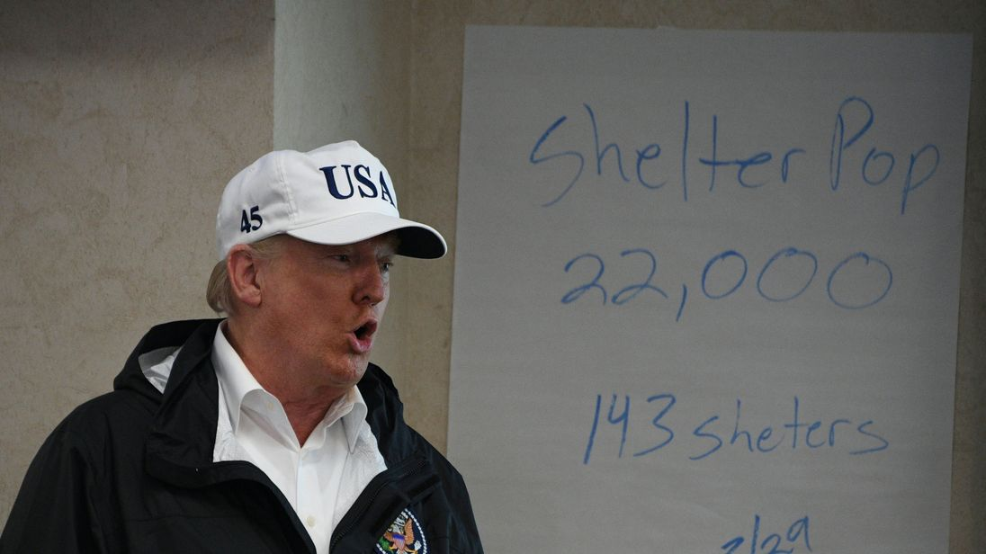 US President Donald Trump speaks at the Texas Department of Public Safety Emergency Operations Center in Austin, Texas