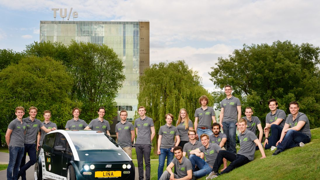Students from TU/Ecomotive and their car, Lina. Pic: TU/Ecomotive
