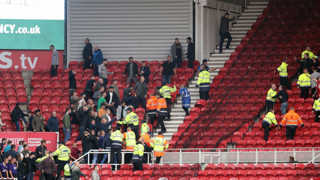 Fans clashed in the stands after the final whistle