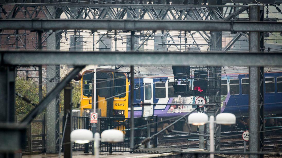 A train pulls into Leeds station