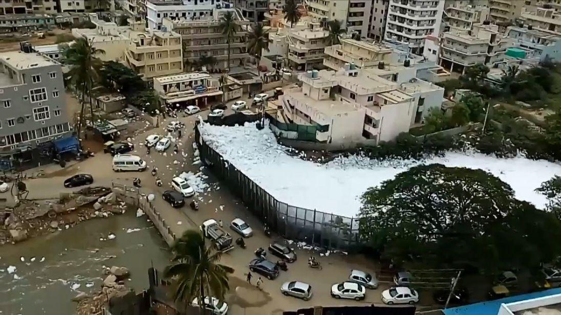 Toxic foam covers lakes in Bengaluru, India.