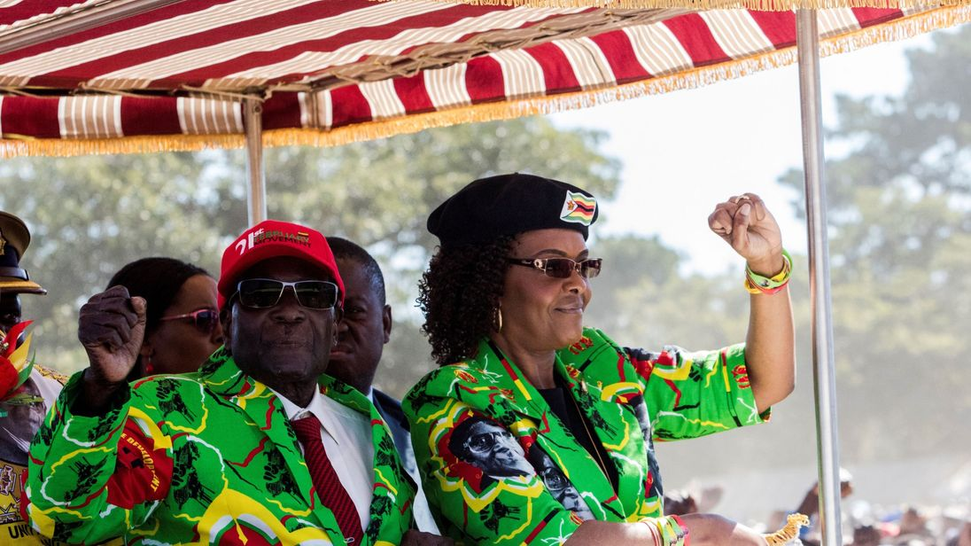 Zimbabwe's President Robert Mugabe with his wife Grace