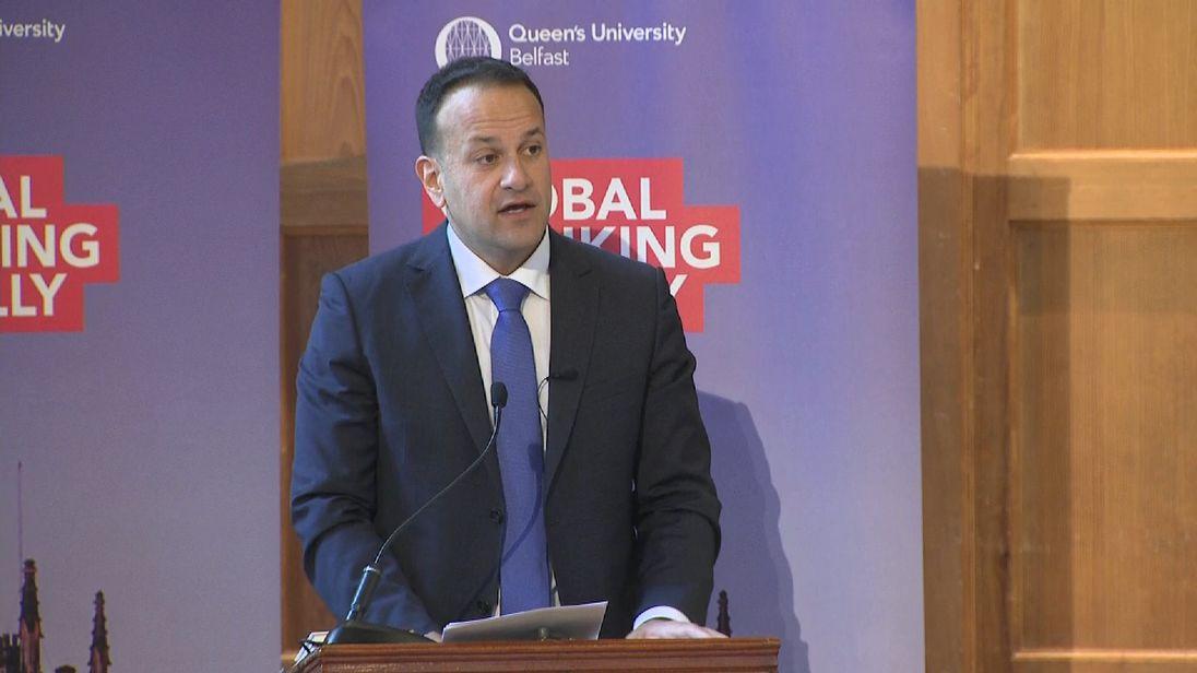 Irish PM Leo Varadkar speaking in Belfast