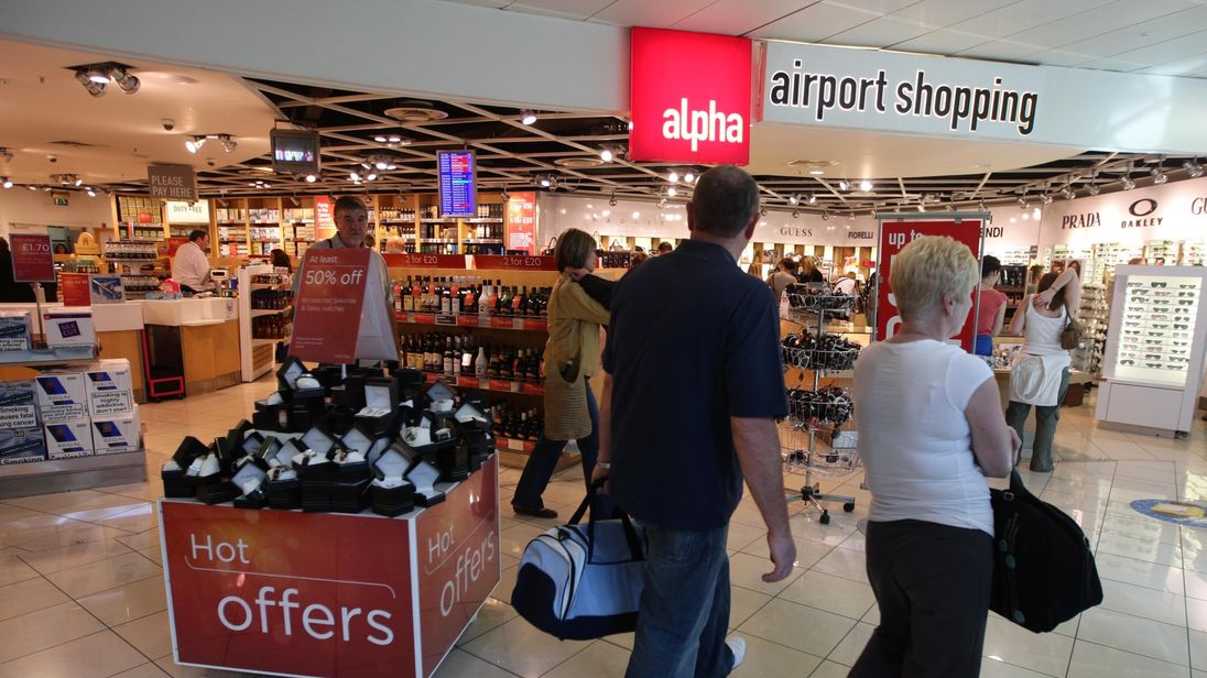 A general view of shops inside terminal 3 at Manchester Airport