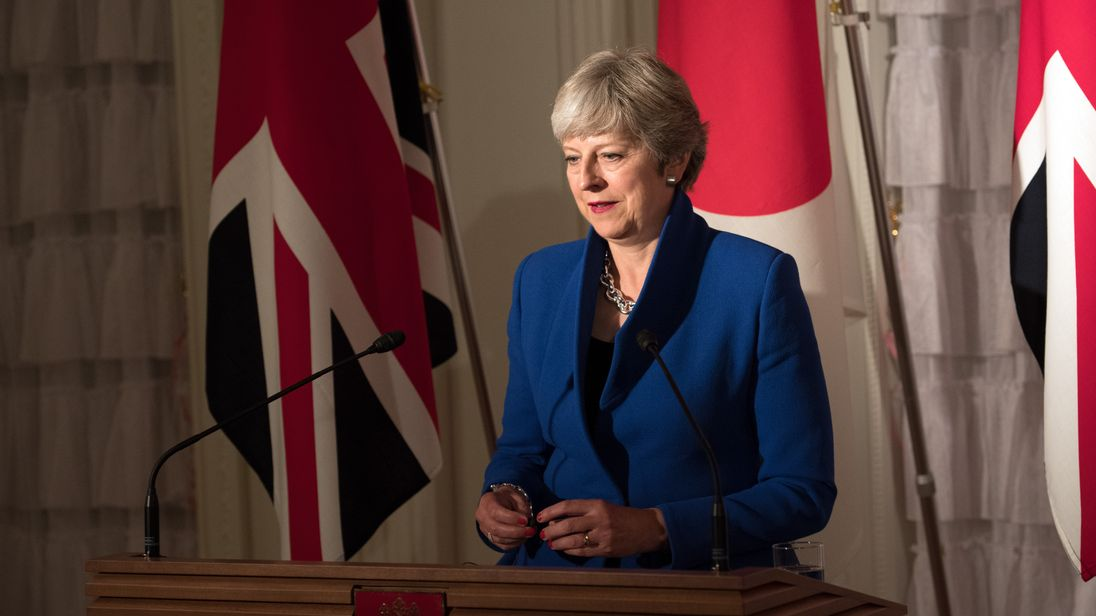 Theresa May is on the second day of a three-day visit to Japan