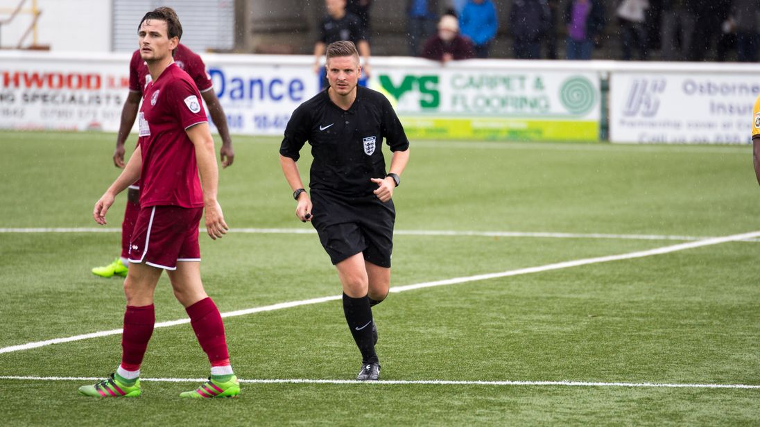 Ryan Atkin, referee, Sutton United v Chelmsford City friendly
