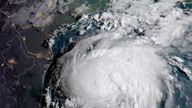 Hurricane Harvey in the Texas Gulf Coast on 24 August