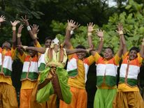 Indian students practice before the celebrations