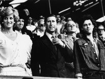 July 1985: Diana and Charles stand with Bob Geldof in the Royal Box at Wembley Stadium at the start of the Live Aid Transatlantic Spectacular