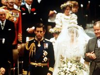 July 1981: Earl Spencer accompanies his daughter Lady Diana Spencer at her wedding to the Prince of Wales at St Paul's Cathedral, London