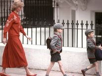 Sept 1989: Diana follows her sons Prince Harry, 5, and Prince William, 7, on Harry's first day at the Wetherby School in Notting Hill, West London