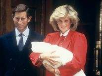 Sept 1984: The Prince and Princess of Wales leave hospital with their new baby Prince Henry (Harry)