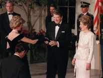 Nov 1985: US President Ronald Reagan and his wife Nancy welcome Princess Diana and Prince Charles at the White House