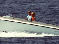 Princess Diana and Dodi Al Fayed cruising in Saint Tropez, South France