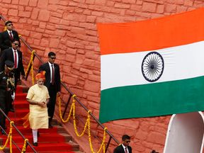Indian Prime Minister Narendra Modi leaves after addressing the nation from the historic Red Fort
