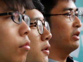 Student leaders (from left), Joshua Wong, Nathan Law and Alex Chow