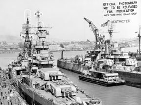 The Portland-class heavy cruiser USS Indianapolis (CA 35) in port at the Mare Island Navy Yard, in Northern California following its final overhaul. The ship was sunk on July 30, 1945. Pic: US Navy