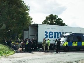 The men were treated at the scene after being found in the back of a lorry