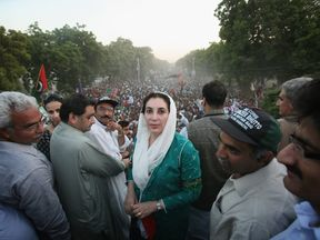 Benazir Bhutto during her welcome home parade in Karachi in October 2007
