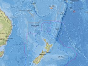 A British family of four was rescued near Niue (pink triangle)