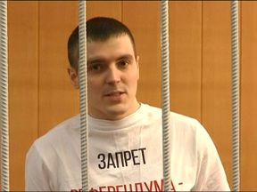 Investigative journalist Alexander Sokolov shortly after he was jailed for three and a half years