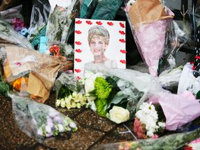 Flowers and photos outside Kensington Place mark the 20th anniversary of Princess Diana's death