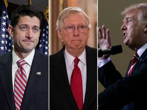 Paul Ryan (L) and Mitch McConnell (C) have been attacked on Twitter by Donald Trump (R)
