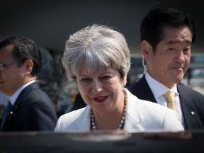 Prime Minister Theresa May arrives in Kyoto for a three day visit to Japan