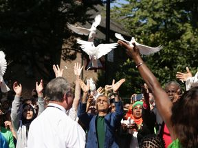White doves were released at the start of the carnival in honour of those who died