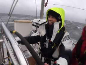 Hannah Thomas-Peter with a team circumnavigating the UK