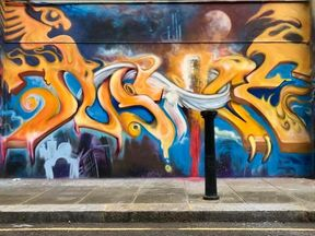 The graffiti featured the word 'justice' and names of the victims. Pic: Emma Daniels