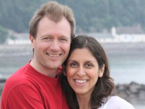 Richard Ratcliffe (L) and his wife Nazanin Zaghari-Ratcliffe