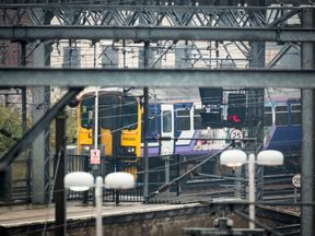 A train pulls into Leeds station