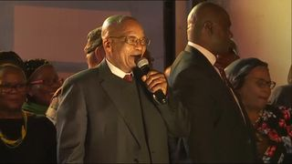 President Zuma speaks at a rally following his surviving of a no confidence vote