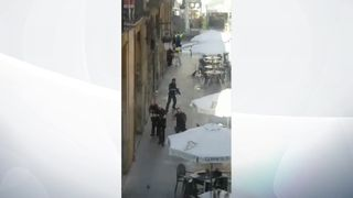 Armed police in Barcelona after the van attack