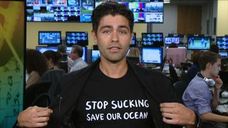 Adrian Grenier talking in New York studio.