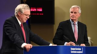 David Davis and Michel Barnier at their joint news conference after apparently difficult talks