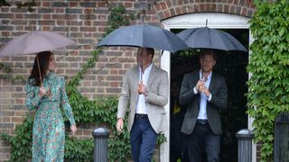 The Duke and Duchess of Cambridge and Prince Harry arrive at the White Garden in Kensington Palace