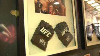 Conor McGregor's gloves, on the wall of the gym where he trains