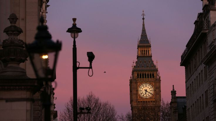 CCTV cameras in front of the Elizabeth Tower at the Houses of Parliament in Westminster