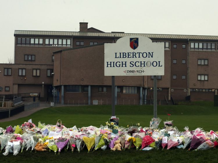 Pupils at Liberton High School left flowers after the death of their fellow student